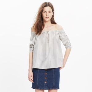 MADEWELL Striped Off Shoulder Top Size Medium